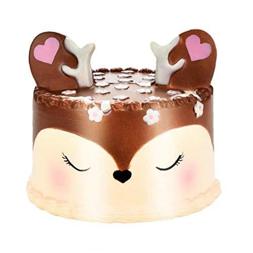 El aumento lento Squishie Jumbo, tarta de 11 cm de caballos encanto blando perfumado lenta Rising teléfono celular Simulación Kid Toy Key regalo pendiente de la correa (ABCDE colorido) (Brown)