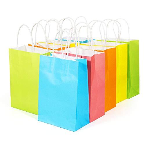 MOOKLIN Bunte Papiertüten mit Griffen, [20 Stück] Geschenktüte Mitgebsel Partytüten Kraftpapier für Party, Giveaways, Kindergeburtstag, Gast, Hochzeiten, feiern, Süßigkeiten, Geschenke verpacken