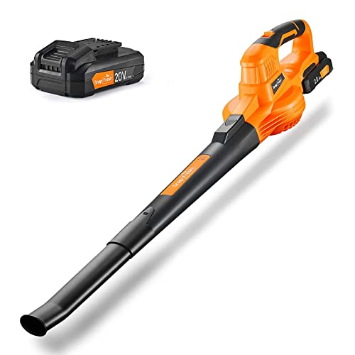 SnapFresh Leaf Blower -20V Cordless Leaf Blower with Battery & Charger, Electric Leaf Blower for Yard Cleaning, Lightweight Leaf Blower Battery Powered for Snow Blowing (Battery & Charger Included)