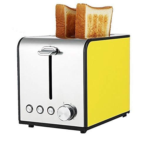 YFGQBCP Tostadora 2 rebanadas de Acero Inoxidable automático multifunción for el hogar 6 Modos de Control de Tostado Máquina de Desayuno Cocina (Color : Yellow)