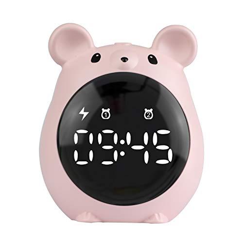Kinder Wecker Digitaler,Süße Wecker mit Countdown/Snooze/2 Wecker/Sprachsteuerung Display Wiederaufladbarer Wecker für Kinder Schreibtisch Wohnzimmer Uhr