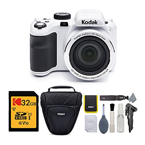 KODAK PIXPRO AZ421 Astro Zoom 16MP Digital Camera with 42x Optical Zoom (White) Bundle with 32GB SD Memory Card and…
