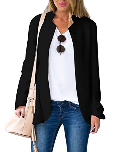 Choies Women's Fashion Casual Long Sleeve Slim Office Blazer Jacket with Stand Collar XL Black