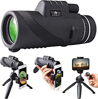 Monocular Telescope by AIPNIS - 12x50 HD Waterproof Shockproof Fog-proof Low Light Night Vision Scope with Smartphone Moun...