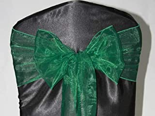 Sarvam Fashion Set of 10 Chair Bows Sashes Tie Back Decorative Item Cover ups for Wedding Reception Events Banquets Chairs Decoration (Hunter Green)