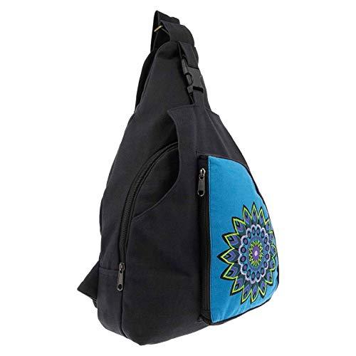 KUNST UND MAGIE Sling Bag Hippie Goa Bodybag Schultertasche Mandala Rucksack L, Farbe:Schwarz/Türkis