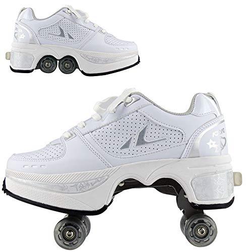 WEDSGTV 2 In 1 Rollschuhe Damen Verstellbar Rollschuhe Multifunktionale Deformation Schuhe,4 Räder Im Freien Sportschuhe,White-38