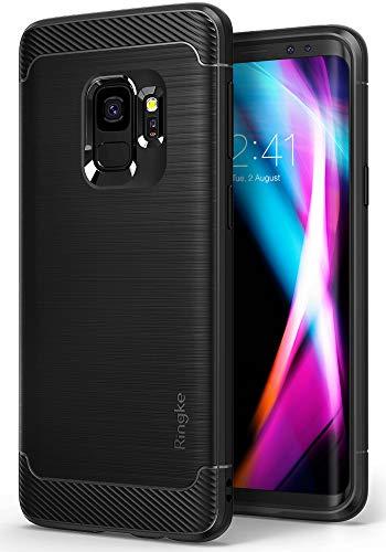 Ringke Cover Compatibile con Samsung Galaxy S9, [Onyx] Durevolezza Flessibile Antiurto Fibra di Carbonio SM-G960F Doppia SIM [Supporta la Carica Wireless] - Nero (Black)