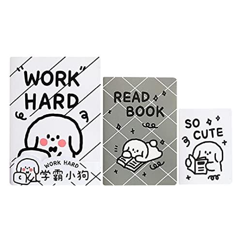 Paquete de 3 lindo juego de cuadernos de tapa blanda B5 / A5 / A6 Cuaderno Comobination School Student Bloc de notas de dibujos animados con animales de tapa blanda Cuaderno a5 con rejilla forrada de