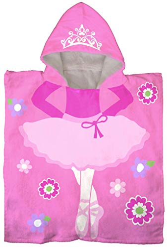 Jay Franco Trend Collector Ballerina Kids Bath/Pool/Beach Hooded Poncho Towel - Super Soft & Absorbent Cotton Towel, Measures 22 Inch x 22 Inch