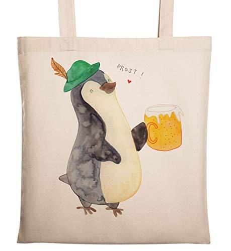Mr. & Mrs. Panda Jutebeutel, Einkaufstasche, Tragetasche Pinguin Bier - Farbe Transparent