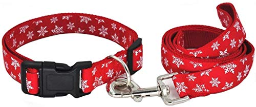 Too Goederen hondenriem met kerst motief, verstelbare halsband, sterk nylon, met linnen en duurzame lijn for huisdieren, hardlopen, medium, Rood - Snowflake