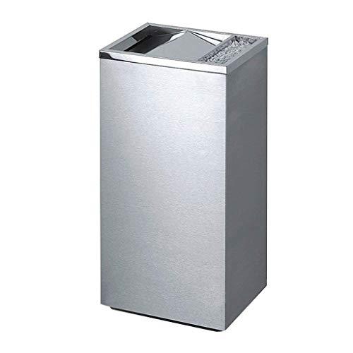 葉巻灰皿, スイングトップゴミは蓋で、灰皿、台所の廃棄物の収集、寝室、オフィスでのステンレス鋼25リットル平方ゴミ箱、取り外し可能なインナーバケットをブラッシングすることができます(色:黒ニッケル)、カラー:ブラックニッケル (Color : Silver)