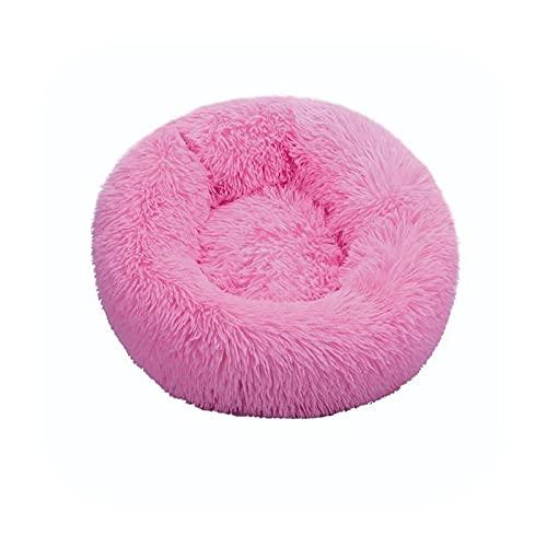 Cama de perro súper suave de invierno felpa, felpa, felpa, felpa, camas para perros grandes, cama de labradores, casa, cojín redondo, accesorios para productos para mascotas-rosa-70 cm