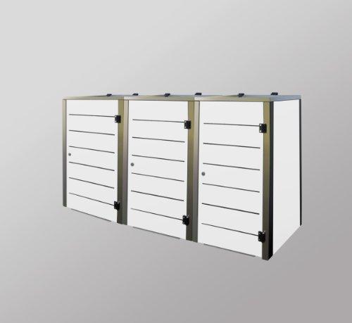 Mülltonnenbox Edelstahl, Modell Eleganza Line 240 Liter als Dreierbox in Weiss