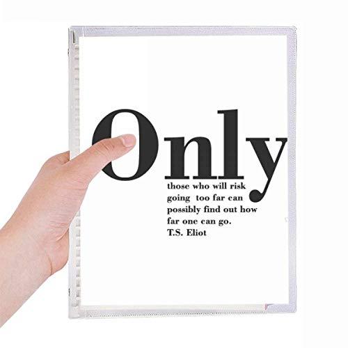 Citação inspiradora sobre a vida por T.S. Eliot caderno de folhas soltas diário recarregável artigos de papelaria