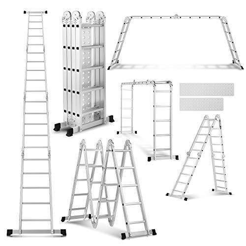 19.5FT Scaffold Ladders Heavy Duty Aluminum Folding Step Ladder Multipurpose Extendable Platform with 2 Platform Plates - 330Lbs