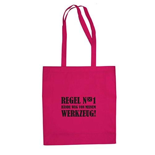 Planet Nerd Hände weg von meinem Werkzeug - Stofftasche/Beutel, Farbe: pink