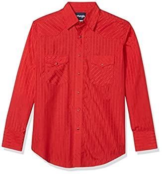 Wrangler Men s Size Silver Edition Tall Western Long Sleeve Woven Shirt Red X-Large