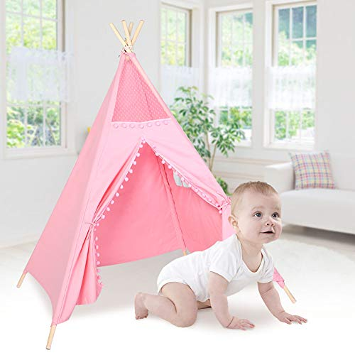 Greensen Teepee Tent for Kids - Foldable Children Play Tent, Natural Cotton Canvas Children Indian Tipi Tent, 4 Poles Playhouse Toy for Indoor and Outdoor, Portable Kids Tent(Pink)