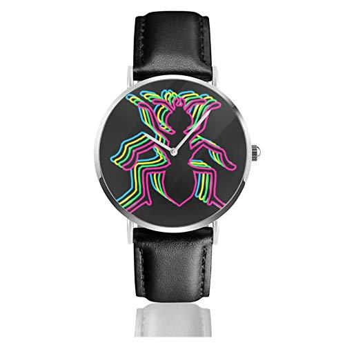 Relojes Anolog Negocio Cuarzo Cuero de PU Amable Relojes de Pulsera Wrist Watches Ant 80s Neón