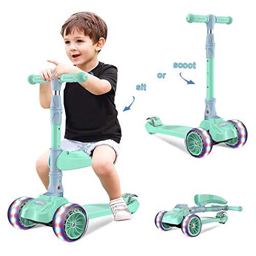 Barakara 3-in-1 Roller Kinder Kinderroller Faltbar Scooter Dreirad für Kinder mit Abnehmbarem Sitz Sicher LED Große Räder Höheverstellbare Lenker für Mädchen & Jungen ab 2-13 Jahre Grün