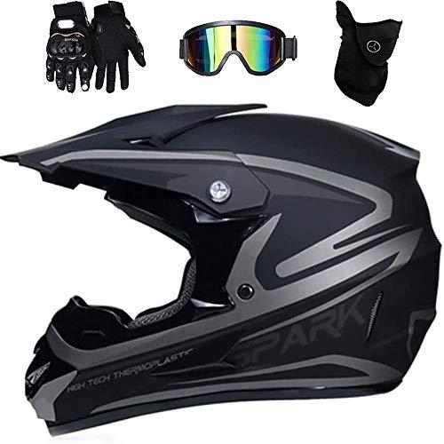 LEENP Herren Motocross-Helm, Crosshelm Set mit Brille Maske Handschuhe, Damen Motorradhelm Kinder Schutzhelm Motorrad Sports Off-Road ATV MTB BMX-Helm Quad Motorräder Downhill Enduro-Helm,Silver,S