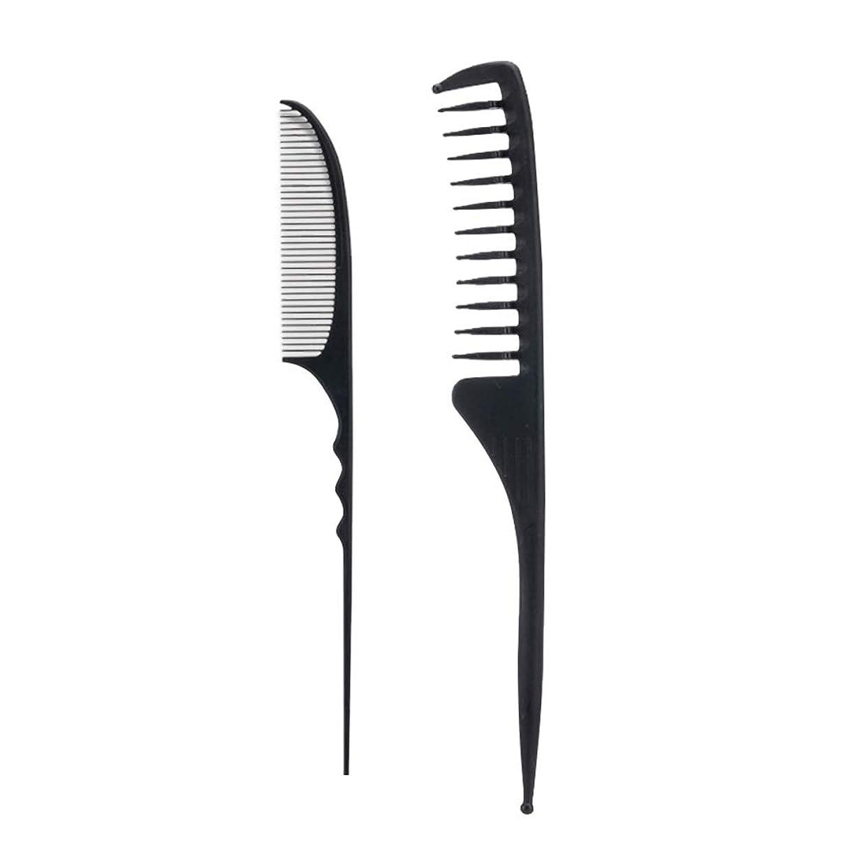 知覚できるキャスト最後のLurrose 2ピースサロンコームヘアー理髪櫛かみそりコーム理髪櫛スタイリングヘアコーム付きファインテールラフィングテール