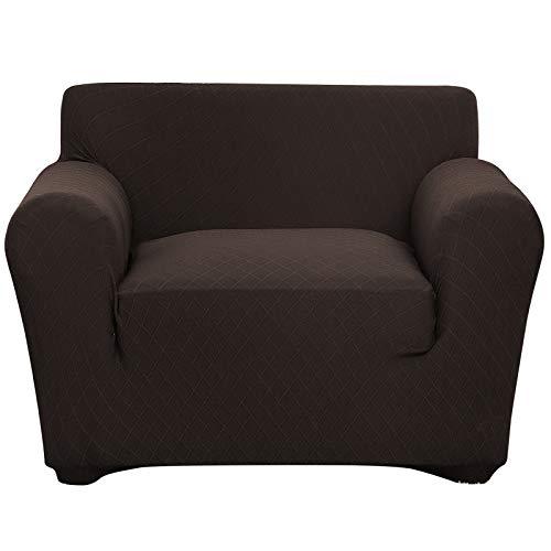 Fuloon Stretch Sofabezug, Spandex Sofa Überwürfe Couchbezug Elastische Sofahusse Antirutsch Sofa Abdeckung 82-122cm (1 Sitzer, Brown)