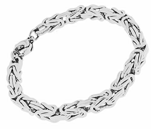 Königsarmband versilbert 6 mm quadratisch 21 cm Herren-Armband Silberarmband Damen Geschenk Schmuck ab Fabrik Italien tendenze BZSs6-21v