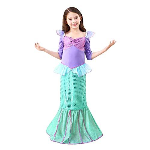 OBEEII Mädchen Meerjungfrau Kostüm Prinzessin Ariel Kleid Fischschwanz Kleid Fisch Skala Meerjungfraukostüm Karneval Fasching Abendkleid Halloween Cosplay Kleider 1/2 Ärmel 6-7 Jahre