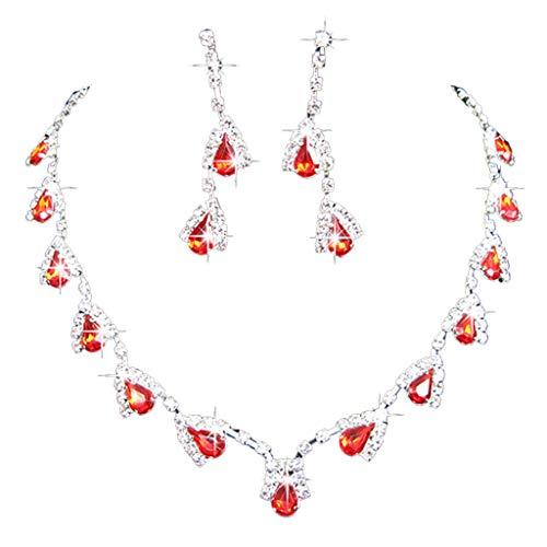 SKYVII Conjuntos de joyería Boda Rhinestone Crystal Bib Statement Collar Pendientes Set Bri