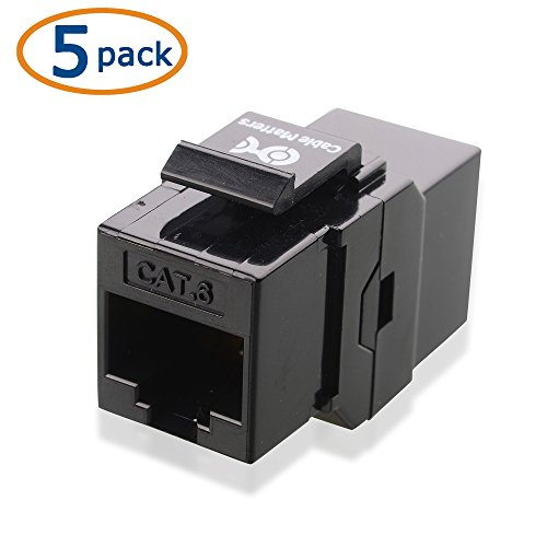 Cable Matters UL Listed 5-Pack Cat6 RJ45 Keystone Jack Coupler Gender Changer in Black