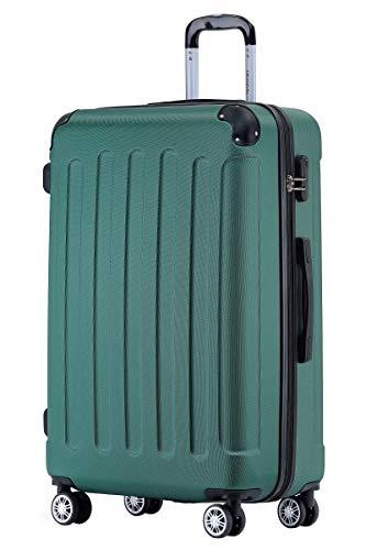 BEIBYE Hartschalen-Koffer Trolley Rollkoffer Reisekoffer Handgepäck 4 Rollen (M-L-XL-Set) (Dunkel grün, L)
