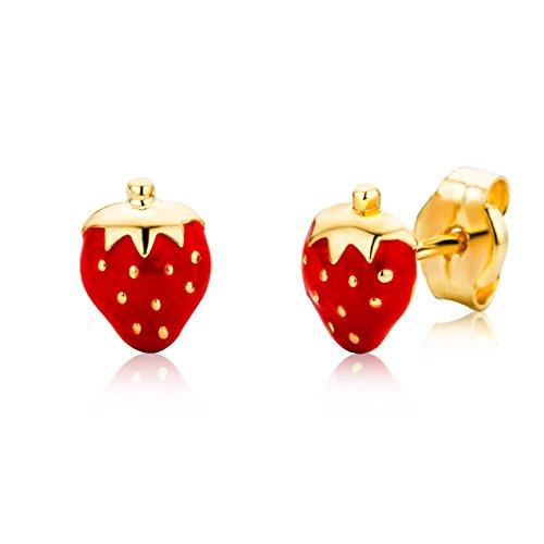 Miore Schmuck Kinder Mädchen Ohrstecker rote Erdbeeren Ohrringe aus Gelbgold 18 Karat / 750 Gold