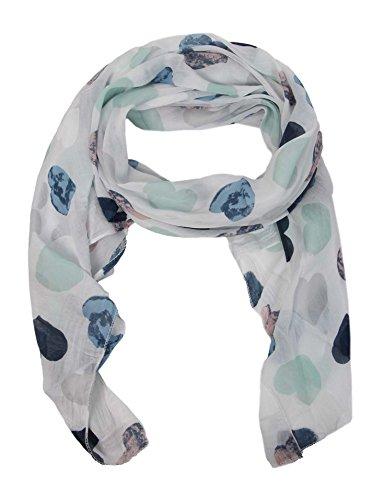 Zwillingsherz Seiden-Tuch Damen Herz Muster - Made in Italy - Eleganter Sommer-Schal für Frauen - Hochwertiges Seidentuch/Seidenschal - Halstuch und Chiffon-Stola Dezent Stilvolles Muster weiß