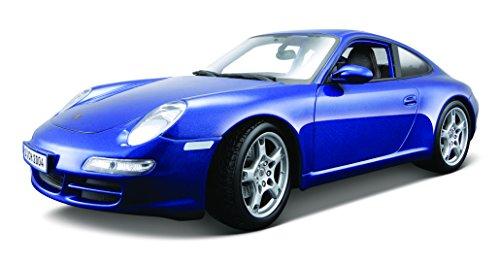 Maisto Porsche 911 Carrera S, modelauto met vering, schaal 1:18, deuren en motorkap beweegbaar, klaar model, bestuurbaar, 24 cm, blauw (531692)