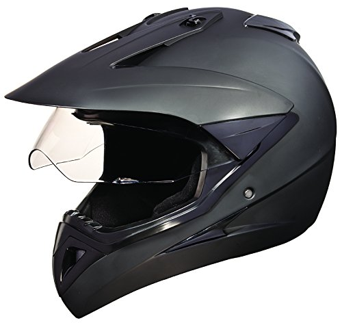 Studds Motocross Plain SUS_MVPFFH_MBLKXL Full Face Helmet with Plain Visor (Matt Black,...