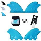 Ho Stevie! Fiberglasverstärktes Polymer-Surfbrett-Fins – Quad (4 Fins) FCS oder Futures Größen, mit Flossentasche, Schrauben, Wachskamm und...