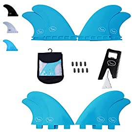 Ho stevie! Fiberglass reinforced polymer surfboard fins - quad (4 fins) fcs or futures sizes, with fin bag, screws, wax… 2 🏄♂️ quad fins fit any surfboard that uses fcs (original or fcs ii) or futures fins (select which kind) - whether it's a shortboard, funboard, or longboard. 🌊 balanced fin template is suited for all types of waves. Hit the accelerator at your favorite point break, boost some airs, or lay into some wedges at the nearest beachbreak. 🎁 includes everything you need: 4 surfboard fins, wax comb / fin key / bottle opener, fin screws, and travel case.