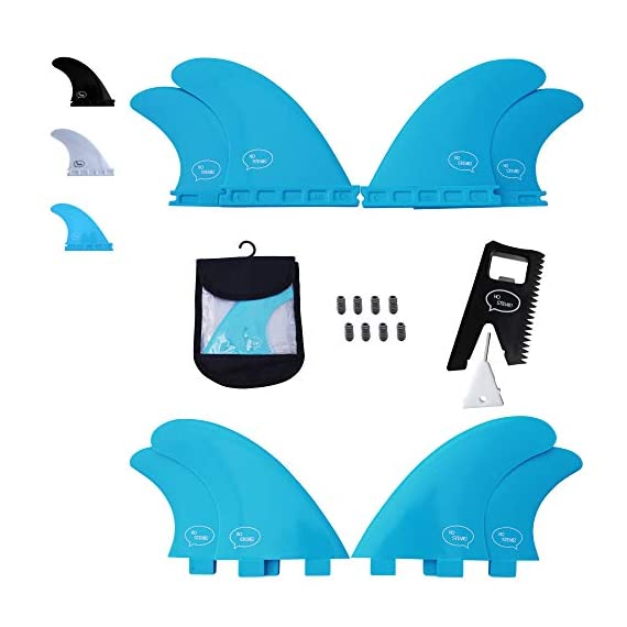 Ho Stevie! Fiberglass Reinforced Polymer Surfboard Fins - Quad (4 Fins) FCS or Futures Sizes, with Fin Bag, Screws, Wax… 1 🏄♂️ QUAD FINS fit any surfboard that uses FCS (original or FCS II) or Futures fins (select which kind) - whether it's a shortboard, funboard, or longboard. 🌊 BALANCED FIN TEMPLATE is suited for all types of waves. Hit the accelerator at your favorite point break, boost some airs, or lay into some wedges at the nearest beachbreak. 🎁 INCLUDES EVERYTHING YOU NEED: 4 surfboard fins, wax comb / fin key / bottle opener, fin screws, and travel case.