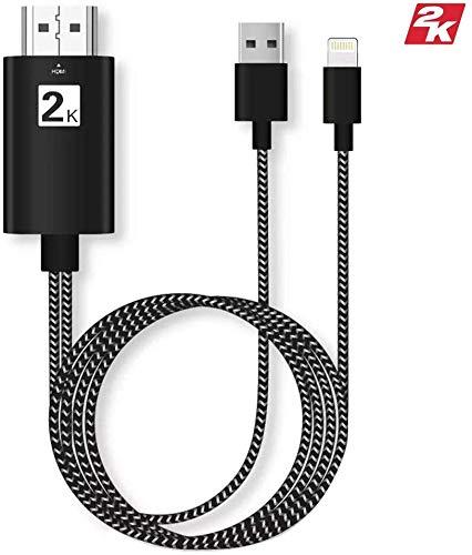 HDMI-Adapter, kompatibel mit Handy, HDMI-Adapterkabel für Telefon zu TV, HDMI Digital AV Adapter 1080P HDTV Kabel Konverter kompatibel mit iPhone XS/XSmax/XR/X/8/7/6/Plus (schwarz)