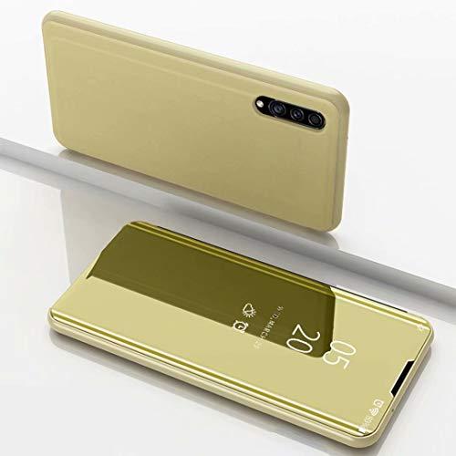 TiHen Spiegel Schutzhülle für Samsung Galaxy A8s Hülle, Smart-Fenstertasche Überzug Spiegel Flip Cover +Panzerglas Schutzfolie 2 Stück,Handyhülle Lederhülle Etui mit Standfunktion -Gold