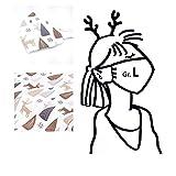 1 Mund- & Nasenmaske Weihnachten - Damen/Unisex - Weiß Rentiere/Tannen - 100% Baumwolle 2-lagig Waschbar Handgenäht - Alltagsmaske; Behelfs-mundschutz; Gesichts-maske