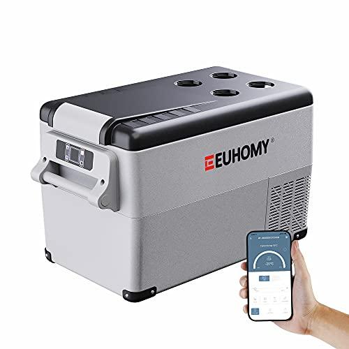 Euhomy 12 Volt Refrigerator, 35Liter(38qt) Car Refrigerator, RV Refrigerator with 12/24V DC and 120-240V AC, Freezer Fridge Cooler, for Car, RV, Camping and Home Use