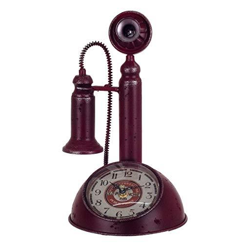 Reloj Sobremesa Decorativo Teléfono Vintage Metálico Rojo 28 cm