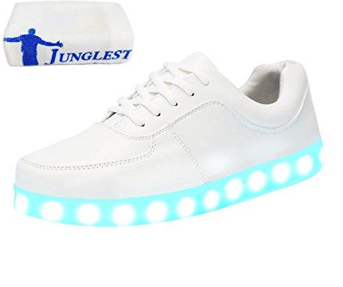 (Presente:pequeña toalla)JUNGLEST LED Light 7 color Shoes zapatillas para hombre USB carga de techo luces intermitentes de calzado de deportes zapati, Blanco, 46 EU