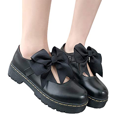 Shuifeng Scarpe Oxford da donna cute bow girl Lolita cosplay scarpe con tacco medio cinturino alla caviglia scarpe piatte in vernice