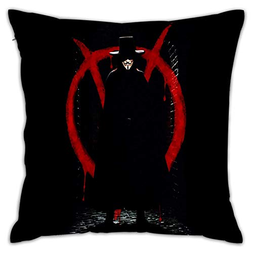 ChenZhuang Throw Pillow Covers V for Vendetta Square Throw Pillow Covers Bed Pillow Cover Pillow Cases for Couch Sofa Bedroom L.