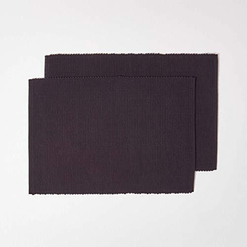 HOMESCAPES Set de Table en Coton Lot de 2, Linge de Table uni Noir, 30 x 45 cm